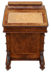 Victorian C1870 inlaid burr walnut davenport writing table desk