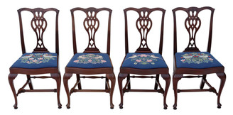 Set of 4 mahogany Chippendale dining chairs