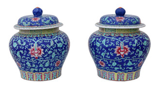Pair of Chinese Republic period jars with lids ginger vases