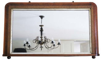 Victorian parquetry wall mirror overmantle
