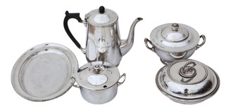 6 pieces of Mappin & Webb and Elkington & Co. silver plate Camb Uni