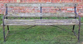 Heavy wrought iron and hardwood 6' garden or park bench