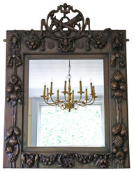 Victorian carved walnut wall mirror overmantle