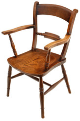 19C elm & beech Oxford bar back armchair desk chair