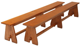 Large pair of oak benches seats