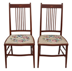 Pair of Edwardian needlepoint mahogany chairs bedroom side hall