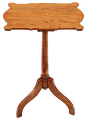 19th Century shaped satinwood and pine wine table side