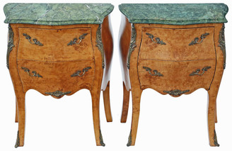 Pair of birds eye maple & marble bombe style bedside tables
