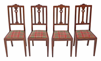 Set of 4 Art Nouveau oak dining chairs