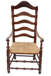 Georgian fruitwood high back elbow desk chair