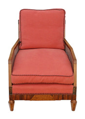 Art Deco burr rosewood & walnut Bergere armchair