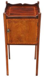 Mahogany tray top bedside table cupboard