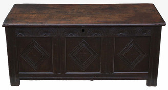 18th Century large Georgian oak coffer or mule chest