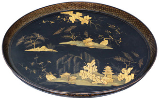 Victorian Chinoiserie black lacquer serving tray