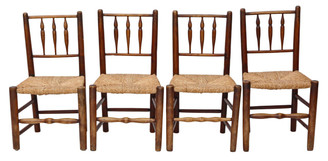 Set of 4 Georgian elm kitchen dining chairs C1800