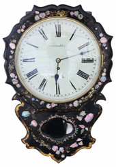 Victorian mother of pearl inlaid single fusee wall clock
