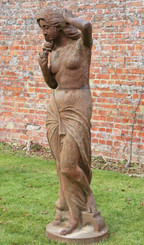 Reclaimed large near life size cast iron posing lady statue