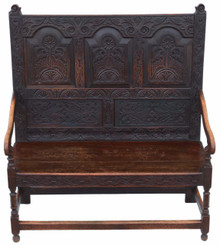Georgian carved oak settle bench