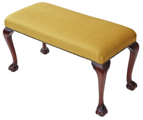 Georgian revival C1900 carved mahogany upholstered stool