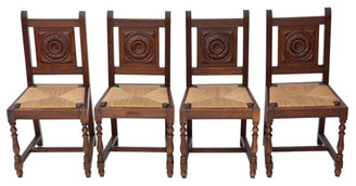 Set of 4 oak early 20C kitchen dining chairs