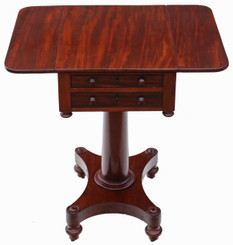 19th Century two drawer mahogany drop leaf work table