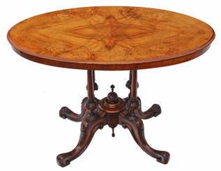 Victorian inlaid figured walnut oval supper table
