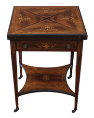 Victorian C1890 inlaid rosewood games table