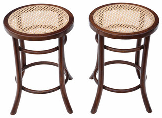 Pair bentwood cane stools seats chairs