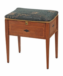 Edwardian inlaid walnut piano music stool