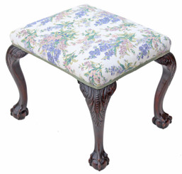 Georgian revival carved mahogany upholstered stool