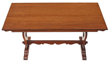 Oak Jacobean Gothic revival refectory dining table