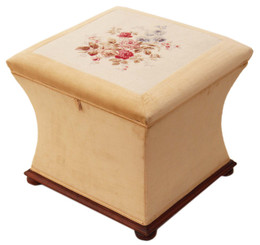 Victorian concave upholstered ottoman blanket box