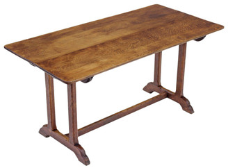 Victorian oak refectory dining table