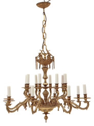 16 lamp ormolu brass chandelier