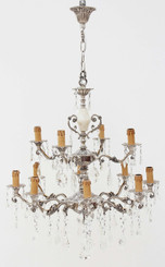 12 lamp silver on brass crystal chandelier