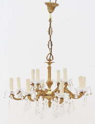 12 lamp ormolu brass crystal chandelier