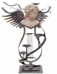Mixed metal contemporary statue work of art angel candelabra