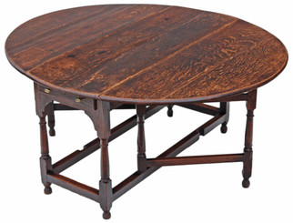Georgian oak gateleg drop leaf dining table
