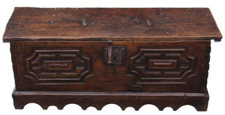 17th Century Spanish chestnut chest coffer