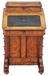 Victorian inlaid burr walnut davenport writing table desk