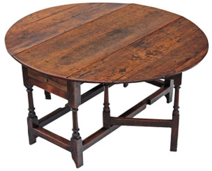 Georgian oak elm gateleg drop leaf dining table