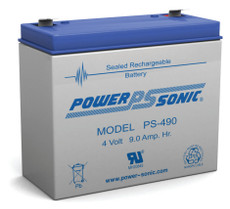 PS-490 Power-sonic Battery - 4 Volt 9 Amp Hour