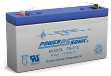 Power-sonic PS-612 Battery - 6 Volt 1.4 Amp Hour Sealed Lead Acid