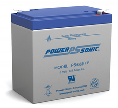 Power-sonic PS-665 FP Battery - 6 Volt 6.5 Amp Hour Sealed Lead Acid