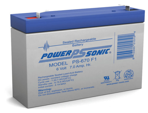 Power-sonic PS-670 Battery - 6 Volt 7.0 Amp Hour Sealed Lead Acid
