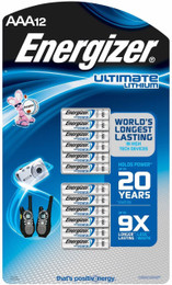 Energizer AAA L92 Ultimate Lithium Battery (12 Pack)