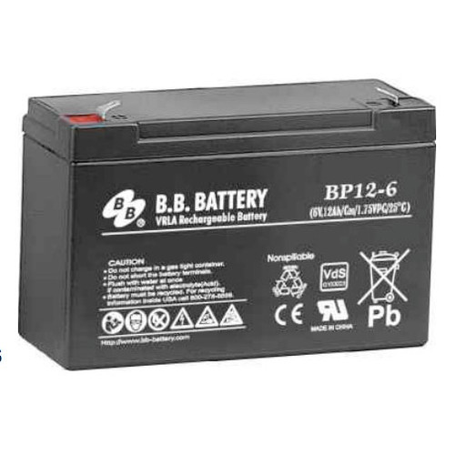 "B.B. Battery BP12-6 (.250"") - 6V 12Ah AGM - VRLA Rechargeable Battery"