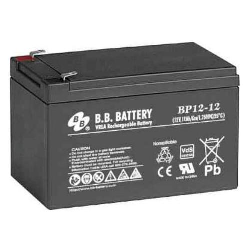 "B.B. Battery BP12-12 (.250"") - 12V 12Ah AGM - VRLA Rechargeable Battery"