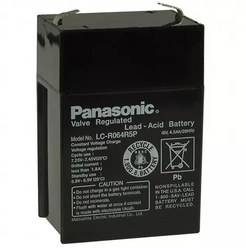 LC-R064R5P Panasonic Battery - 6V 4.5Ah AGM - Sealed Rechargeable