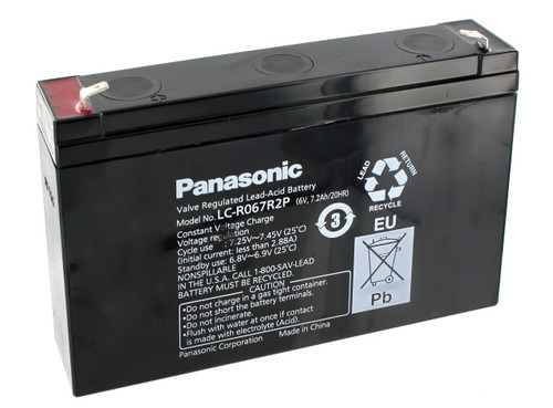 LC-R067R2P Panasonic Battery - 6V 7.2Ah Sealed Lead Rechargeable